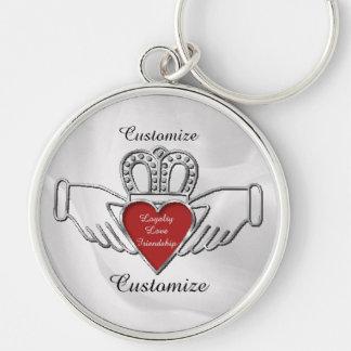 Loyalty Love Friendship Claddagh Custom Key Chain Silver-Colored Round Keychain