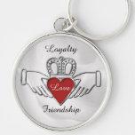 Loyalty Love Friendship Claddagh Key Chain Silver-Colored Round Keychain