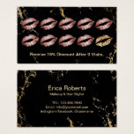 Loyalty Makeup Artist Rose Gold Lips Trendy Marble Business Card