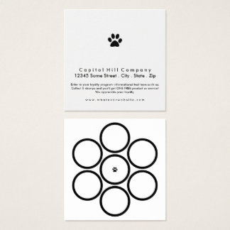 loyalty program pet paw square square business card