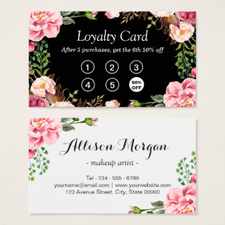 Loyalty Punch Card | Girly Pink Floral Wrapping