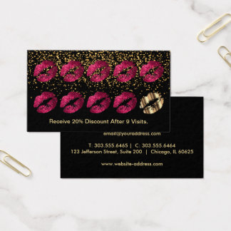 Loyalty Punch Card - Hot Pink Glitter and Gold