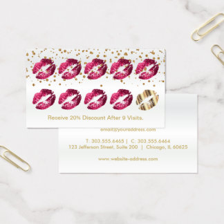Loyalty Punch Card - Hot Pink Glitter and Gold 2