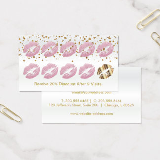 Loyalty Punch Card - Pink Glitter and Gold 2