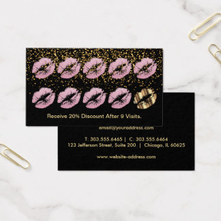 Loyalty Punch Card - Pink Glitter Lips