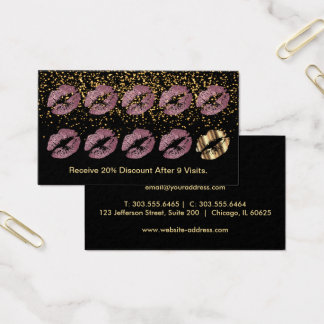 Loyalty Punch Card - Pink Rose Glitter and Gold
