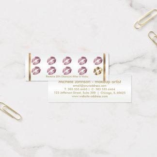 Loyalty Punch Card - Pink Rose Glitter Lips
