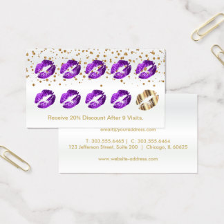 Loyalty Punch Card  Purple Glitter and Gold 2