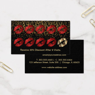 Loyalty Punch Card - Red Glitter and Gold