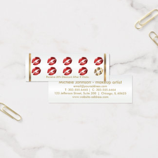 Loyalty Punch Card - Red Glitter Lips