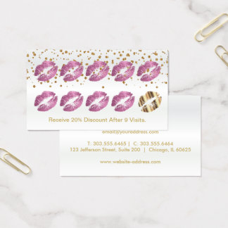 Loyalty Punch Card  So Pink Glitter on White Satin