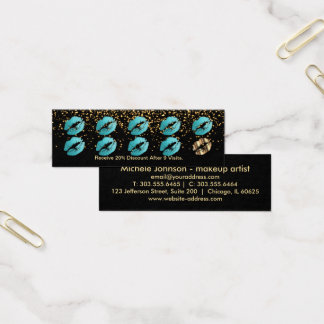 Loyalty Punch Card - Teal Glitter and Gold 3