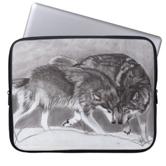 Loyalty - Wolves in snow laptop sleeve