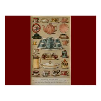 Loza de señora Beeton Breakfast Tea China Tarjetas Postales
