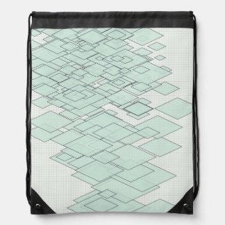 Lozenges levels mintgrün on graphic paper drawstring backpack