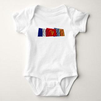 Lozère, Languedoc-Roussillon & France flags Baby Bodysuit