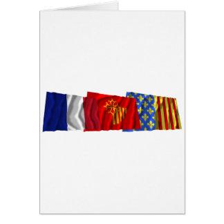 Lozère, Languedoc-Roussillon & France flags Card