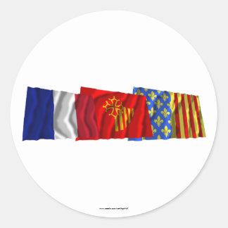 Lozère, Languedoc-Roussillon & France flags Classic Round Sticker