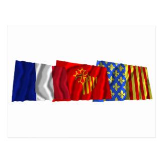 Lozère, Languedoc-Roussillon & France flags Postcard