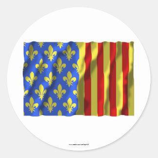Lozère waving flag classic round sticker