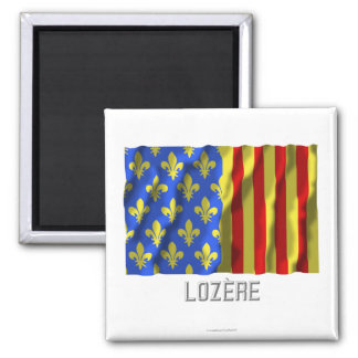 Lozère waving flag with name 2 inch square magnet