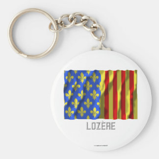 Lozère waving flag with name keychain