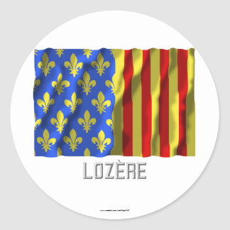 Lozère waving flag with name round stickers