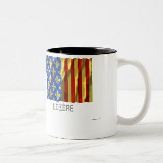 Lozère waving flag with name Two-Tone coffee mug