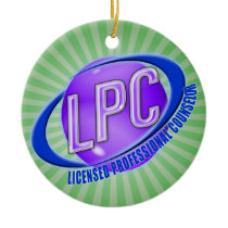 LPC SWOOSH LOGO LICENSED PROFESSIONAL COUNSELOR CERAMIC ORNAMENT