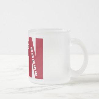 LPN Big RED LICENSED PRACTICAL NURSE Frosted Glass Coffee Mug