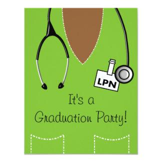 LPN Black Nurse Graduation Invitation Scrub #32