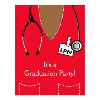 LPN Black Nurse Graduation Invitation Scrub RED