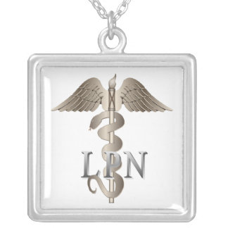 LPN Caduceus Silver Plated Necklace