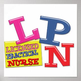 LPN FUN LETTERS LICENSED PRACTICAL NURSE POSTER