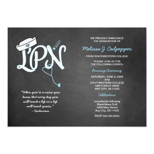 LPN graduation nurse pinning ceremony invites | Zazzle