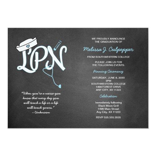 LPN graduation nurse pinning ceremony invites | Zazzle.com