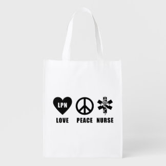 LPN Love Peace Nurse Reusable Grocery Bag