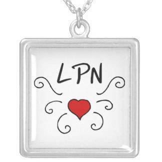 LPN Love Tattoo Square Pendant Necklace