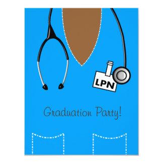 LPN Nurse Graduation Invitation Blue Scrub Top