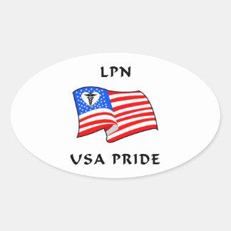 LPN Nurse USA Pride Oval Sticker