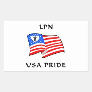 LPN Nurse USA Pride Rectangular Sticker