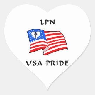 LPN Nurse USA Pride Heart Sticker