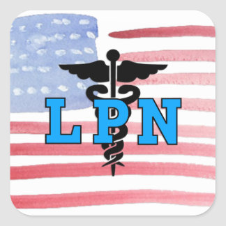 LPN Nurses Medical Symbol Square Sticker