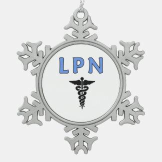 LPN Nurses Symbol Snowflake Pewter Christmas Ornament