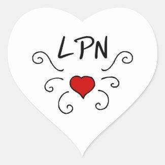 LPN Nursing Love Tattoo Heart Stickers