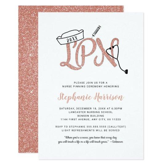 Lpn Pinning Ceremony Invitation Rose Gold Glitter Invitation