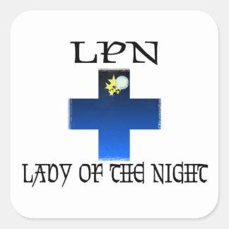 LPN-Señora de la noche Calcomanía Cuadradas Personalizada