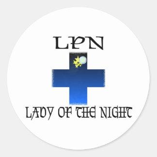 LPN-Señora de la noche Pegatina Redonda