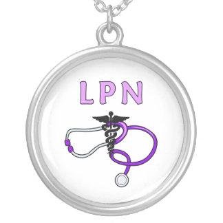 LPN Stethoscope Round Pendant Necklace
