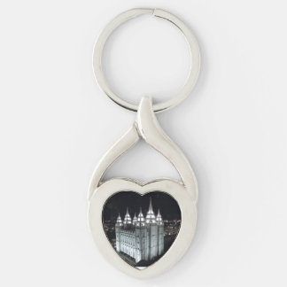 LSD Salt Lake Temple at night. Silver-Colored Heart-Shaped Metal Keychain